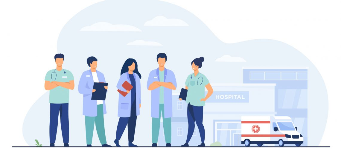 Group of doctors standing at hospital building. Team of practitioners and ambulance car in background. Vector illustration for medical staff, medicine, job, occupation concept